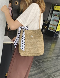 Fashion Solid Color Khaki Scarf Straw Shoulder Messenger Bag