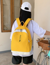 Fashion Yellow Contrast Embroidered Letter Canvas Backpack
