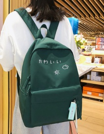 Fashion Green Letter Printed Canvas Backpack