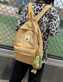 Fashion Yellow Plaid Label Canvas Backpack