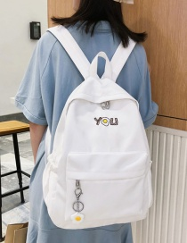 Fashion White Cartoon Omelet Printed Letter Backpack