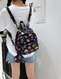 Fashion Black Cartoon Printed Backpack