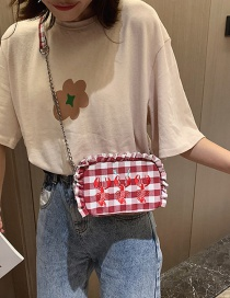 Fashion Red Plaided Wooden Ear Embroidered Lobster Shoulder Messenger Bag