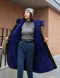 Fashion Blue Hooded Large Fur Collar Long Thick Lambskin Cotton Suit