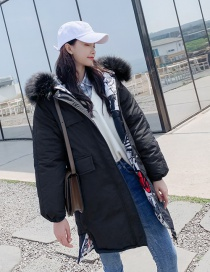Fashion Black Large Fur Collar Hooded Double-sided Camouflage Coat