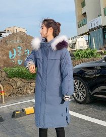 Fashion Smoky Blue Letter Printed Thick Large Fur Collar Coat
