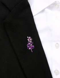 Fashion Purple Alloy Dripping Leaves With Pearl Brooch