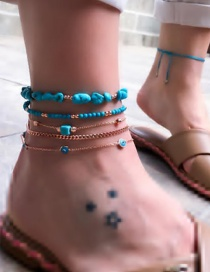 Fashion Blue Turquoise Rice Beads Chain Eye Anklet 5 Sets