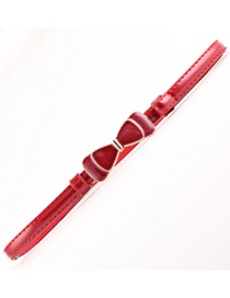Fashion Red Adjusting The Bow And Lengthening The Thin Leather Belt