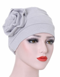 Fashion Gray Monochrome Side Flower Baotou Cap