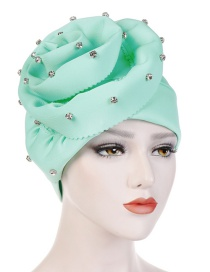 Fashion Mint Green Nail Drill Oversized Flower Flanging Space Cotton Baotou Cap