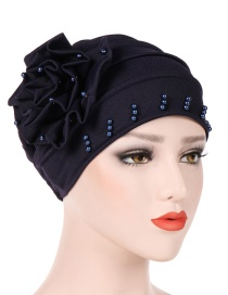 Fashion Navy Side Flower Flower Beaded Large Flower Headscarf Cap