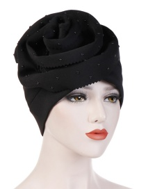 Fashion Black Ceramic Hand-cut Flower Cuffed Space Cotton Baotou Cap