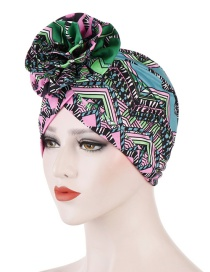 Fashion Green Flower Turban Cap