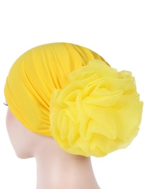 Fashion Yellow Big Flower Milk Silk Baotou Dish Flower Hat