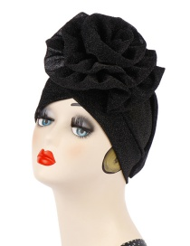 Fashion Black Bright Silk Cloth Large Flower Baotou Cap