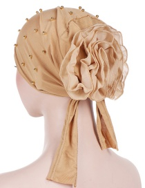 Fashion Khaki Panhua Beaded Large Flower Headscarf Cap
