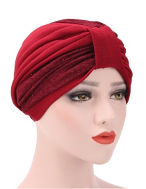 Fashion Red Wine Two-color Stitching Pleated Headgear