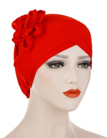 Fashion Red Milk-colored Side Flower Turban Cap