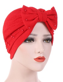 Fashion Red Detachable Bow Neck Pearl Towel Cap