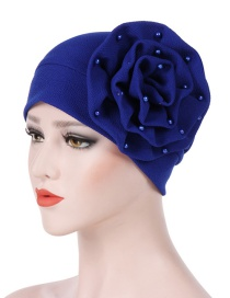 Fashion Royal Blue Side Flower Large Flower Nail Pearl Turban Cap