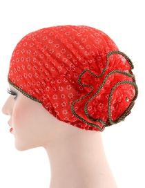 Fashion Red Small Flower Double Color Flower Baotou Cap