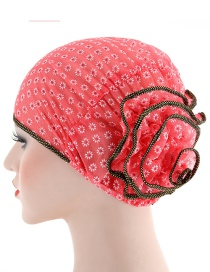 Fashion Watermelon Red Small Flower Double Color Flower Baotou Cap