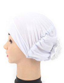 Fashion White After Wearing A Flower Cloth Scarf Cap
