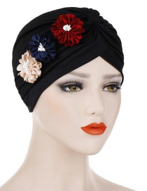 Fashion Black Three Small Flower Pleated Headscarf Caps