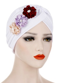 Fashion White Three Small Flower Pleated Headscarf Caps