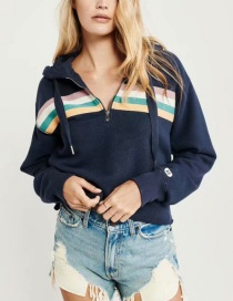 Fashion Navy Hooded Sweater