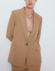 Fashion Khaki Pure Color Decorated Suit