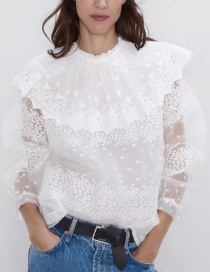 Fashion White Laminated Stitching Lace Top