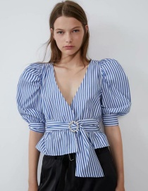 Fashion Blue Jewelry Belt Striped Top
