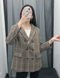 Fashion Lattice Plaid Suit Jacket