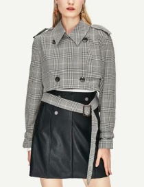 Fashion Gray Plaid Belt Short Coat