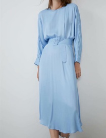 Fashion Blue Belt Dress