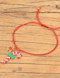 Fashion Red Rice Beads Woven Christmas Gift Lollipop Star Bracelet