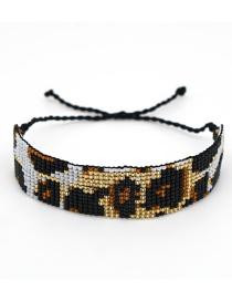 Fashion Black Leopard-print Rice Beads Woven Wide Bracelet