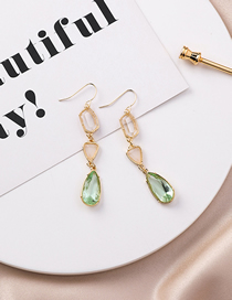 Fashion Green Water Drop Gems Irregular Geometric Earrings