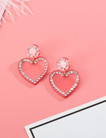 Fashion Pink S925 Silver Needle Love Diamond-encrusted Stitching Stud Earrings