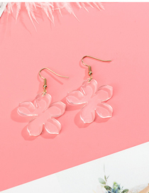 Fashion White Petals Transparent Acrylic Earrings
