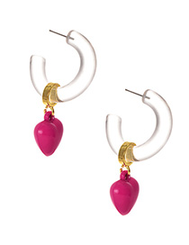 Fashion Rose Red Alloy Resin Crystal Love Earrings