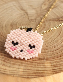 Fashion Pink Cartoon Version Of The Little Man Head Rice Beads Woven Necklace