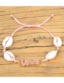 Fashion Pink Rice Beads Braided Letters Love Love Bracelet