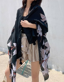 Fashion Black Crane Print Tassel Scarf Shawl