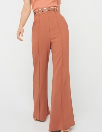 Fashion Rust Red Solid Color Flared Pants