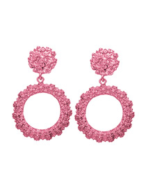 Fashion Pink Round Alloy Square Earrings