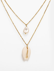 Fashion Gold Double Pearl Shell Necklace