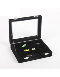 Fashion Black 12 Grid Small Velvet Jewelry Box